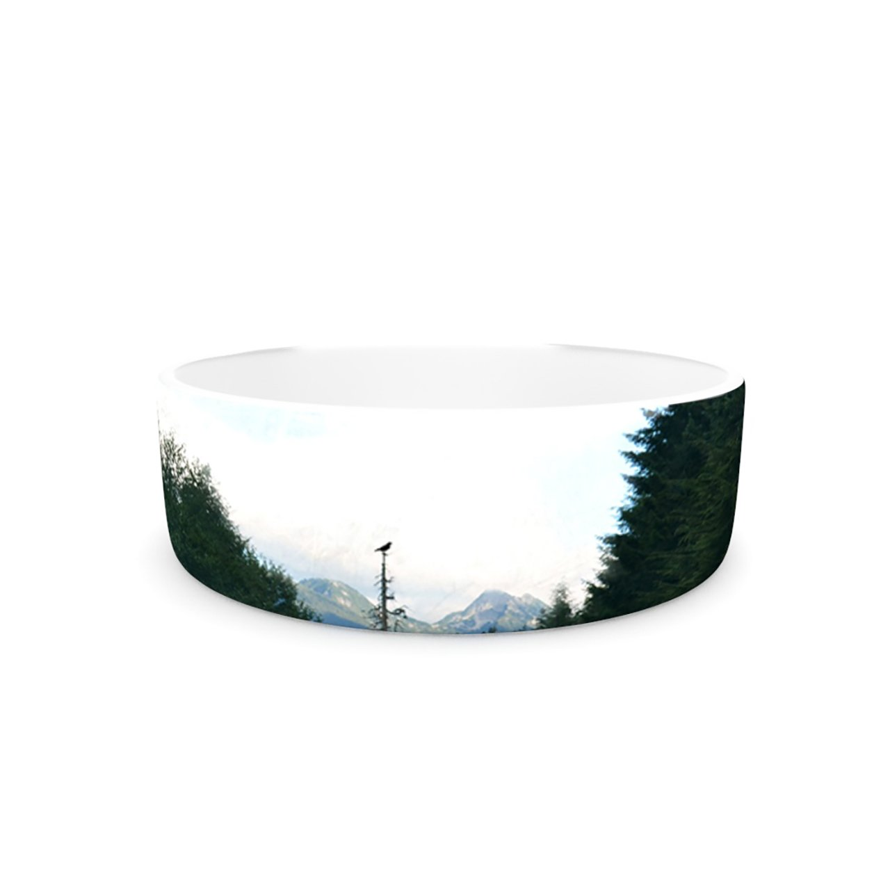 Kess InHouse Robin Dickinson Go Get Lost  Pet Bowl, 7-Inch, Forest Green