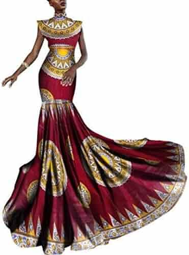 865de64b013 African Women Dashiki Print Clothing Sleeveless Ankara Mermaid Party Long  Dress