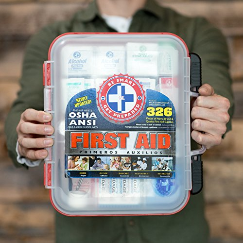First Aid Kit Hard Red Case 326 Pieces Exceeds OSHA and ANSI Guidelines 100 People - Office, Home, Car, School, Emergency, Survival, Camping, Hunting, and Sports by Be Smart Get Prepared (Image #3)