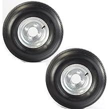 """Two Equipment Utility Trailer Tires & Rims 5.70-8 570-8 5.70X8 8"""" LRB 4 Lug Galv"""