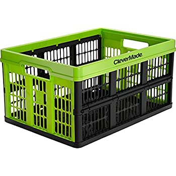 CleverMade CleverCrates 45 Liter Collapsible Storage Bin/Container: Grated Wall Utility Basket/Tote, Kiwi Green