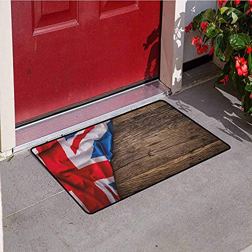 (GloriaJohnson Union Jack Inlet Outdoor Door mat Flag of United Kingdom on Old Oak Wooden Board English Nation Country Britain Catch dust Snow and mud W31.5 x L47.2 Inch)