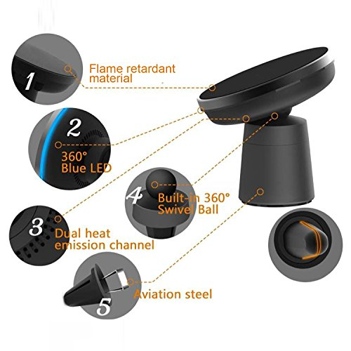 Camboss 2-in-1 Qi Wireless Car Charger with Suction Mount Holder and Air Vent Mount for Samsung Galaxy S8, S7/S7 Edge, Note 8 & Standard Charge for iPhone X, 8/8 Plus & Qi Enabled Devices by Camboss (Image #1)