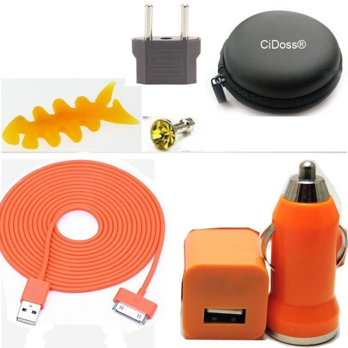 CiDoss Orange 7 in 1 10ft 3M Long 30pin USB Data Sync and Charge Cable + Car charger + Cable Hard Case/Bag + Fish Bone Cord Winder Wrap +EU adapter + Headset Rhinestone dust plug Kit fits Iphone 4/4s, Iphone 3g/3gs, Ipod
