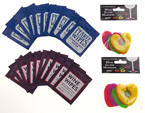 Wine Wipes & Pearly Wipes Party Favors 30 Piece Bundle With Wine Glass Markers (Wine Wipes)