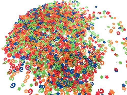 Assorted Mini Neon Stars, Flowers and Spiral Shapes Confetti Sequin Foil for Nail Art or Party Decorations 10gr (aprox 12,000 pcs)