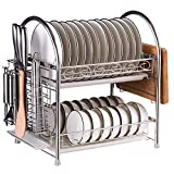 MOTONG Two Tier Stainless Steel Kitchen Cabinet Dish Drying Orgnizer Storage Rack With Knife Stand, Chopsticks Holder, Drainboard Set, Cutting Board Rack, Hooks