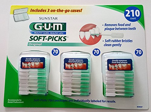 Price comparison product image Sunstar GUM Soft-picks with Convenient Travel Cases, 3 Packs, 210 Picks