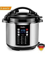 Mueller 9-in1 Pro Series 18 Smart Program Pressure Cooker   German ThermaV Even Heat Technology   6Q/1000W Slow Cooker   Rice Cooker, Yogurt Maker, Cake Maker, Egg Cooker, Sauté, Steamer, Warmer