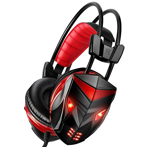 Gaming Headset, POSUGEAR 3.5mm Stereo Gaming Headphones Wired USB LED Light with Microphone, Volume Control, 3.5mm Jack Compatible with New Xbox one PS4 PC Laptop Mac iPad iPod - Cost Make Video A Game To