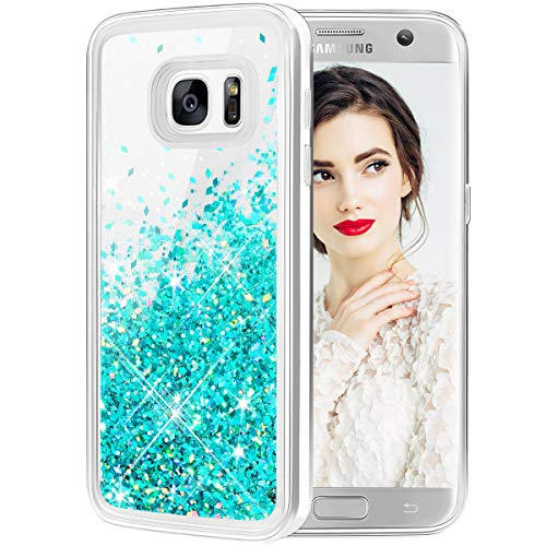 Galaxy S7 Edge Case, Caka Galaxy S7 Edge Glitter Case Liquid Series Luxury Fashion Bling Flowing Liquid Floating Sparkle Glitter Girly Soft TPU Case for Samsung Galaxy S7 Edge (Teal)