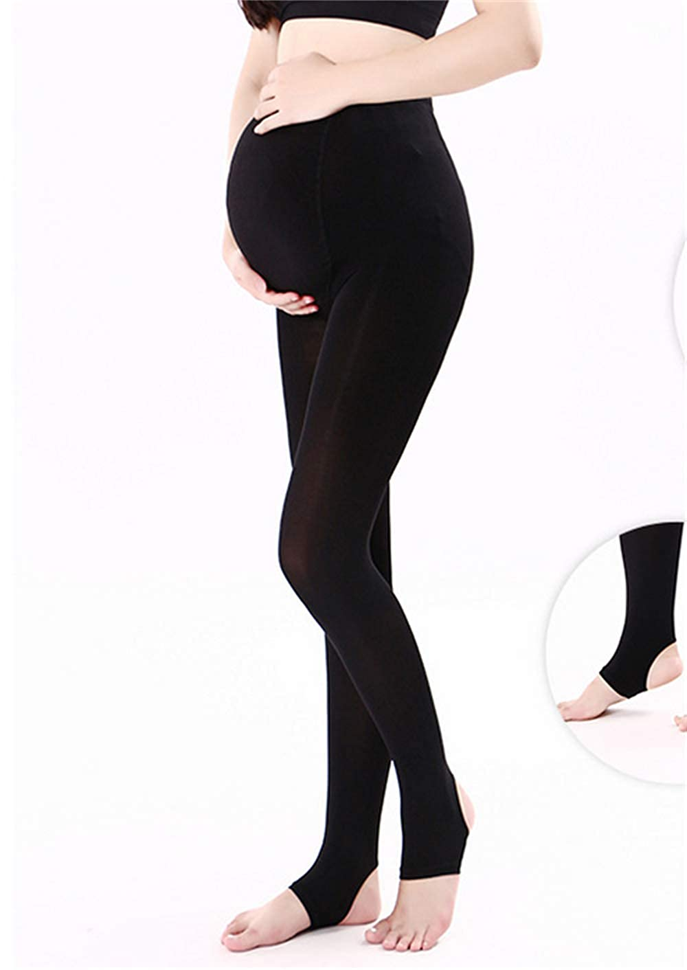 Maternity Tights Opaque Legging, ZUMIY Women's Pregnant Maternity Pantyhose Opaque Tights 320D- ADJUSTABLE Waist Band Black)