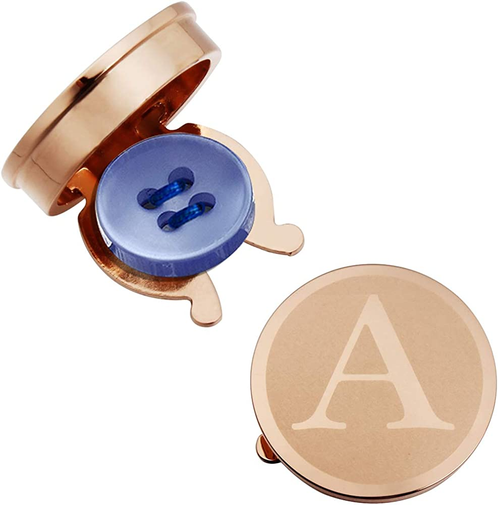 HAWSON Rose Gold Letter Button Cover Cufflinks for Men Initial and Impressing Alphabet A-Z - Best Choice for Weddling Gift