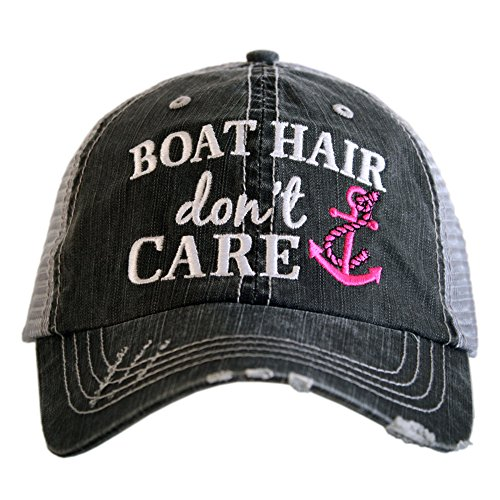 Boat Hair Don't Care Women's Distressed Grey Trucker Hat (Pink Anchor)