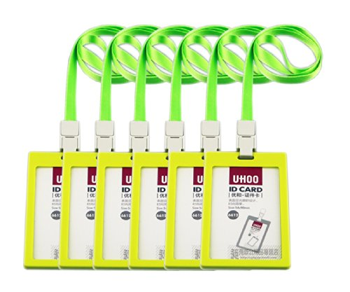 Uhoo Candy Color Vertical Id Badge Holder Case with Lanyard,pack of 6sets (neon (Neon Badge Holder)