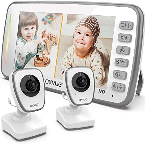 [HD] Video Baby Monitor, 720P 5″ HD Display, IPS Screen, 2 HD Cams, 12-Hour Battery Life, 1000ft Range, 2-Way Communication, Secure Privacy Wireless Technology