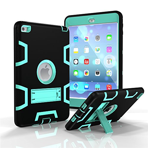 R New Design iPad Mini 4 Case 3 In 1 Hybrid Armor Shockproof Full Body Protective Kickstand Case For Apple iPad Mini 4 (Black+Mint) ()