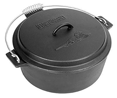 Bayou Classic 7410 Cast Iron Chicken Fryer with Dutch Oven Lid, 10 quart, Black