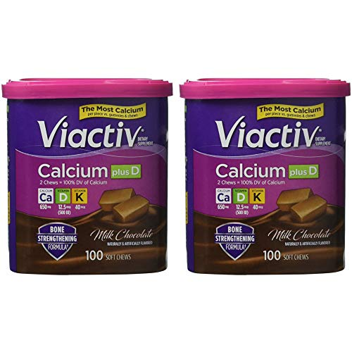 Viactiv Calcium (500mg) plus Vitamins D & K, Milk Chocolate, 90-Count Soft Chews (Pack of 2)