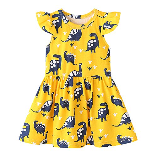 Fozerofo Toddler Baby Girl Dinosaur Party Dress Summer Holiday Dress Outfit Clothes