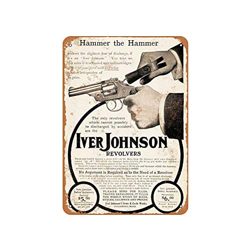 Fhdang Decor Vintage Pattern 1904 Iver Johnson Safety Revolvers Vintage Look Metal Sign Aluminum Sign,6x9 Inches ()