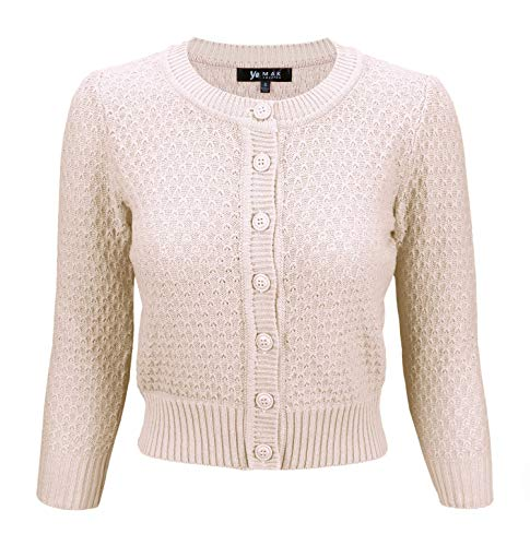 YEMAK Cute Pattern Cropped Daily Cardigan Sweater Vintage Inspired Pinup,Blush,Small