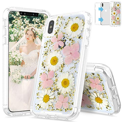 (SEYMAC iPhone Xs Max Case, iPhone Xs Max Flower Case, Full Body Protection Shockproof Girls Women Case with Real Dried Pressed Flower for iPhone Xs Max 6.5