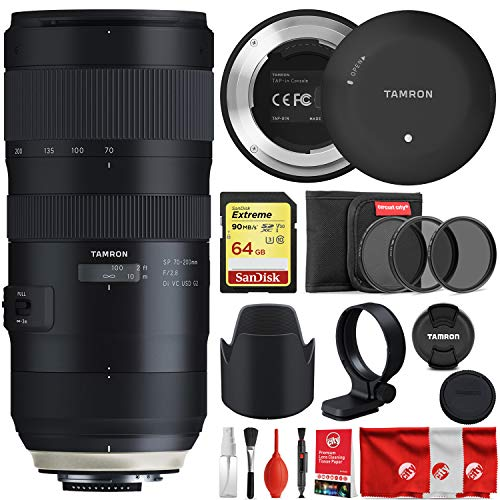 Tamron SP 70-200mm F/2.8 Di VC USD G2 for Nikon Bundle with Tap in Console + Lens Hood + Case + 64GB Sandisk Extreme Memory Card + 3-Piece Filter and 8-Piece Cleaning Kit ()