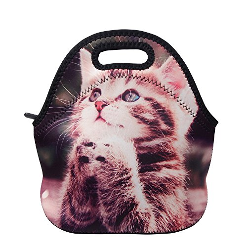 Lunch Boxes, OFEILY Lunch Tote Lunch bags with Neoprene (Middle, Praying Cat)