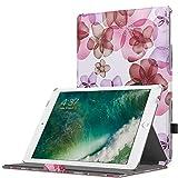 MoKo Case Fit iPad 9.7 2018/2017 - Slim-Fit Multi-Angle Folio Cover Case with Auto Wake/Sleep Compatible with Apple iPad 9.7 Inch (iPad 5, iPad 6), Floral Purple