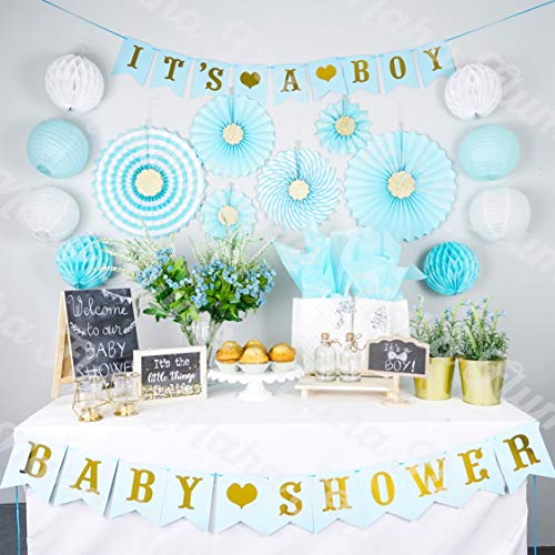 Boy Baby Shower Decorations for Boy | Its a Boy Baby Shower Party Supplies | 35pc Blue and Gold Baby Boy Shower Decorations | Baby Shower Boy | Baby Shower -
