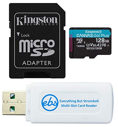 Kingston 128GB SDXC Micro Canvas Go! Plus Memory Card & Adapter Works with GoPro Hero 7 Black, Silver, Hero7 White Camera (SDCG3/128GB) Bundle with (1) Everything But Stromboli TF and SD Card Reader