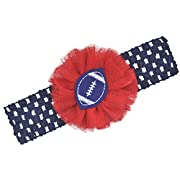 Football Team Fan Tulle Flower Baby and Toddler Headband (Navy / Red)