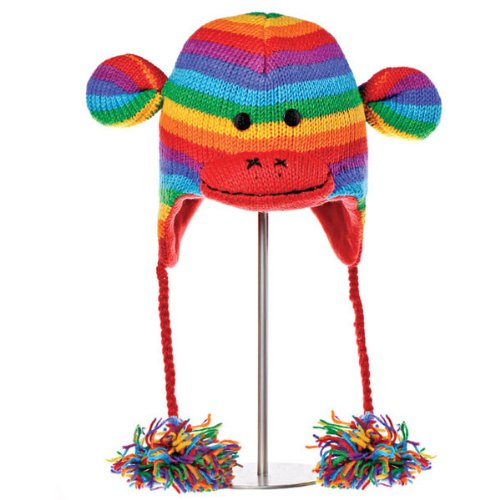Kids Winter Hat by Knit Wits | Boys/Girls, Ear Flaps, Toddler, Wool, Cute, Rainbow Stripe, Monkey -