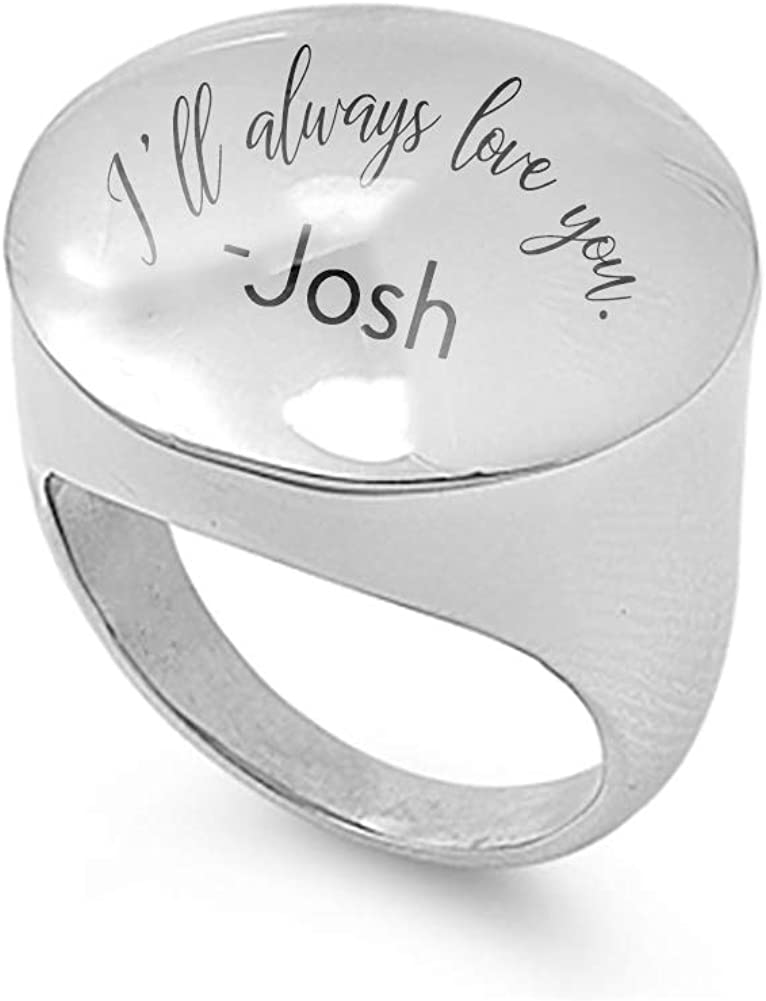 JewelryVolt Personalized Custom Laser Engrave Stainless Steel Rings for Women Personalize with Your Name Ill Always Love You