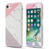 ZCDAYE Case for iPhone 5 5S SE,Premium [Granite Marble Natural Pattern] Slim Thin Anti-Scratch PC Case with [Tempered Glass Screen Protector] Protective Cover for iPhone 5/5S/SE - Pink