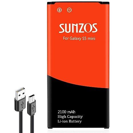 Batería S5 Mini, sunzos 2100 mAh batería para Samsung Galaxy ...