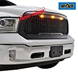 EAG Replacement Front Grille Upper Grill - Matte Black - with Amber LED Lights Fit for 13-18 Dodge Ram 1500