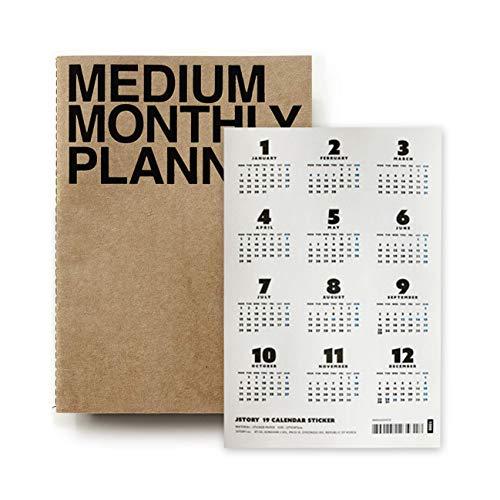 JSTORY Medium A5 Monthly Planner and 2019 Calendar Sticker Eco Friendly Customizable Set Kraft ()