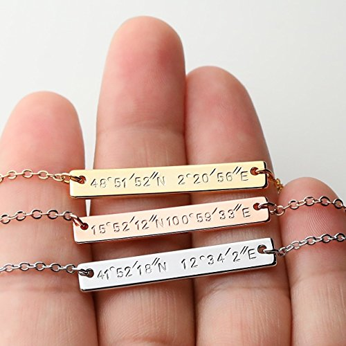 Custom Coordinates Necklace Engraved Necklace Name bar necklace Personalized Jewelry Graduation gift Gift for her - 9N (Same Day Valentines Delivery)
