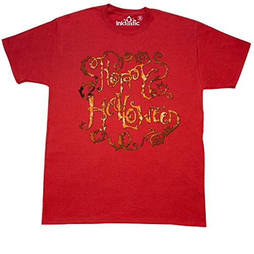inktastic Happy Halloween- Hand Lettering with Thorny Vines T-Shirt Small (Red Vines Halloween)