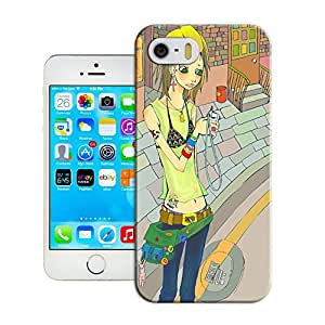 A fashionable girl waiting for a car cute cartoon best durable iPhone 5 /5s case sale by Haoyucase Store
