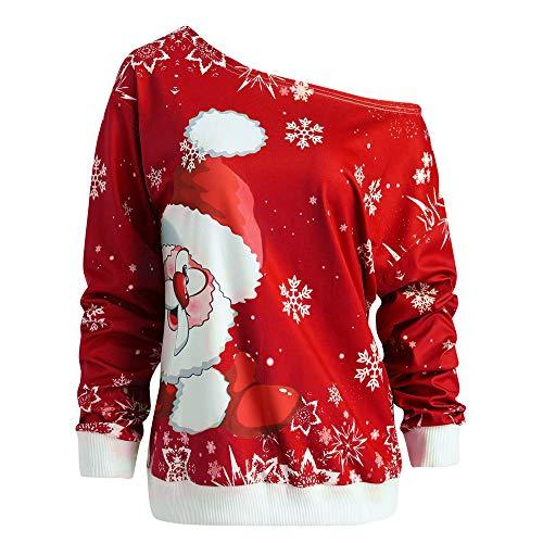 Women Christmas Duseedik Blouse Santa Claus Print Blouse Skew Collar Sweatshirt Blouse Pullover