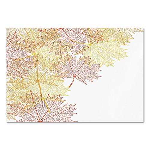 Large Wall Mural Sticker [ Leaves,Pattern with Maple Tree Fall Leaves Skeleton Dried Golden Forms Halloween Decoration Decorative,Red Yellow ] Self-adhesive Vinyl Wallpaper / Removable Modern Decorati