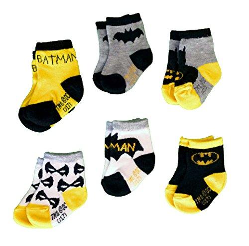 Batman Infant Baby Toddler Boys Socks, DC Comics - 6 Pack (3T-4T)