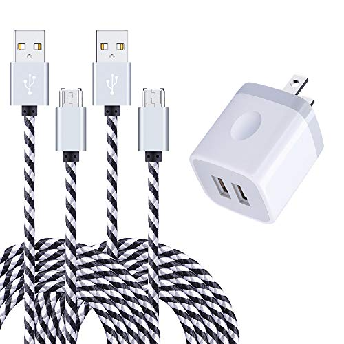 Wall Charger, 2.1A Dual Port Charger Adapter USB Charger Plug with 2-Pack 6FT Braided Micro USB Cable Android Cord for Samsung Galaxy S7 Edge/S6 J3 J7, LG stylo 2/3 Plus, Moto G5, PS4, Kindle, Tablet