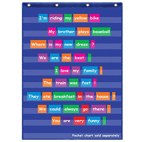 Eamay Standard Pocket Charts, Clear 10 Pocket Chart for Teacher Lessons in a Classroom or Home Use, Fits Standard Sentence Strips Word Cards, Blue