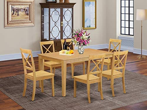 East West Furniture Kitchen Set 7 Pc-Wooden Wood Chairs Seat-Oak Finish Dining Room Table and Structure