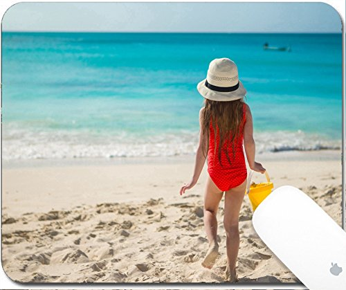 Luxlady Mouse Pad Natural Rubber Mousepad 9.25in X 7.25in IMAGE: 30818491 Cute little girl in hat at beach during summer - Images For Goggles Girl