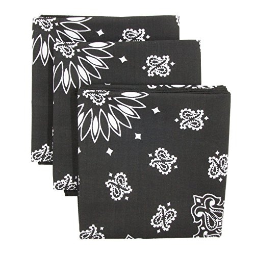 Cotton Bandana Black (Black Bandana 3-Pack - Made in USA For 70 Years - Sold by Vets – 100% Cotton –Sewn Edges – Printed Both Sides)
